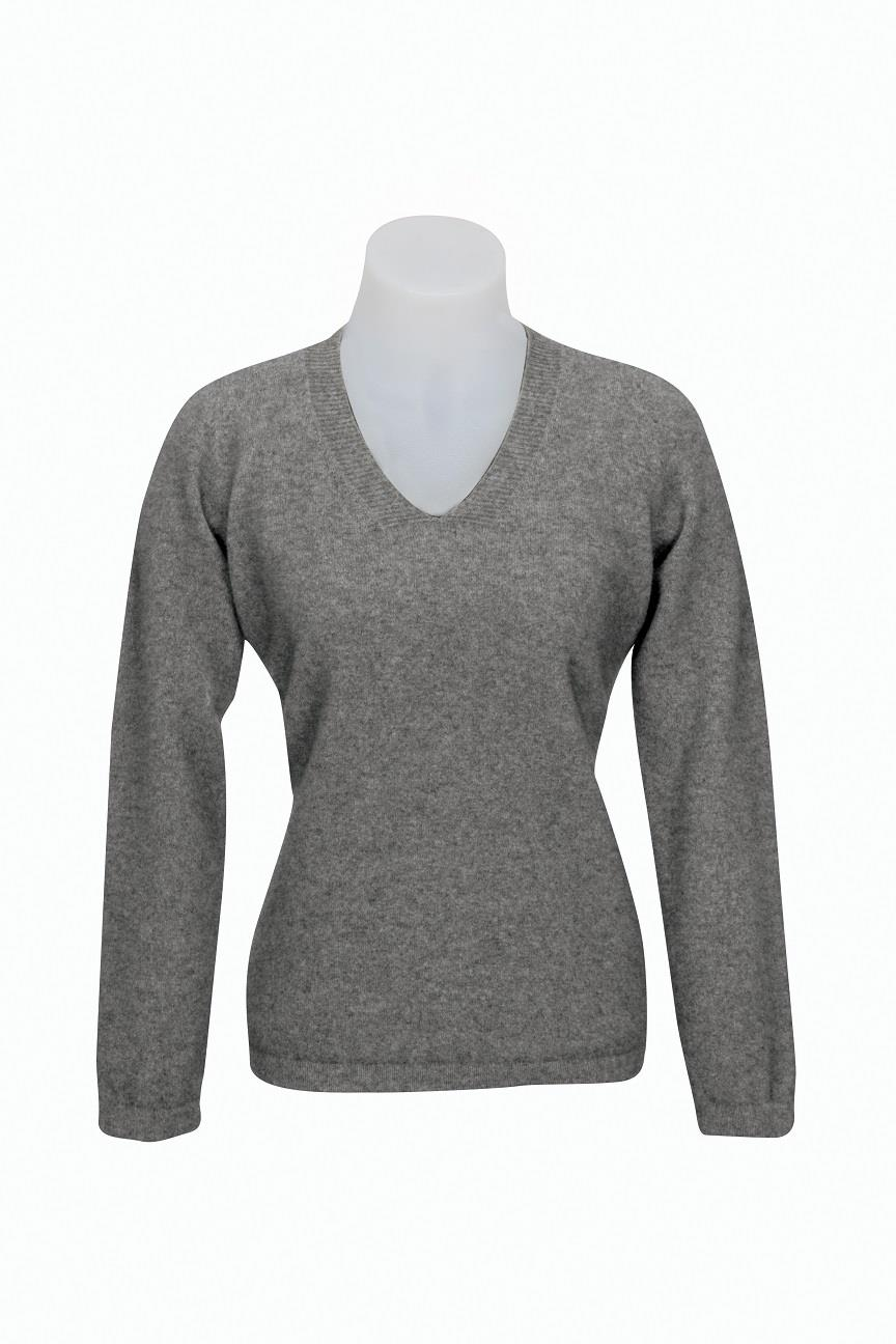 Native World Silver V-Neck Plain Sweater
