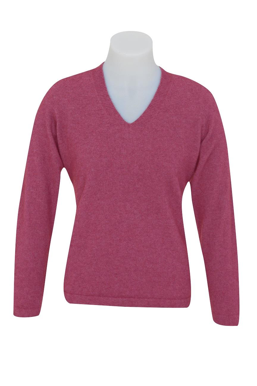 Native World Raspberry V-Neck Plain Sweater