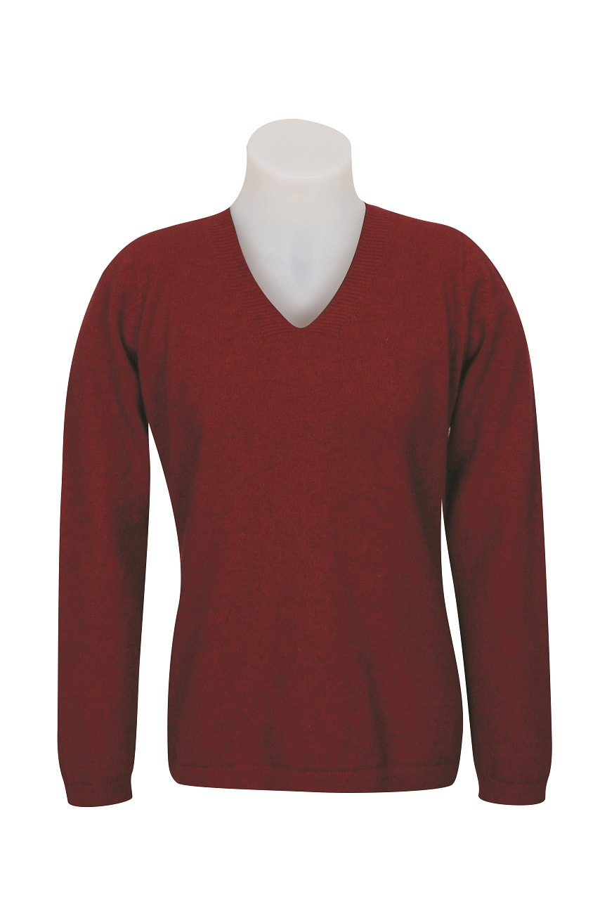 Native World Berry V-Neck Plain Sweater