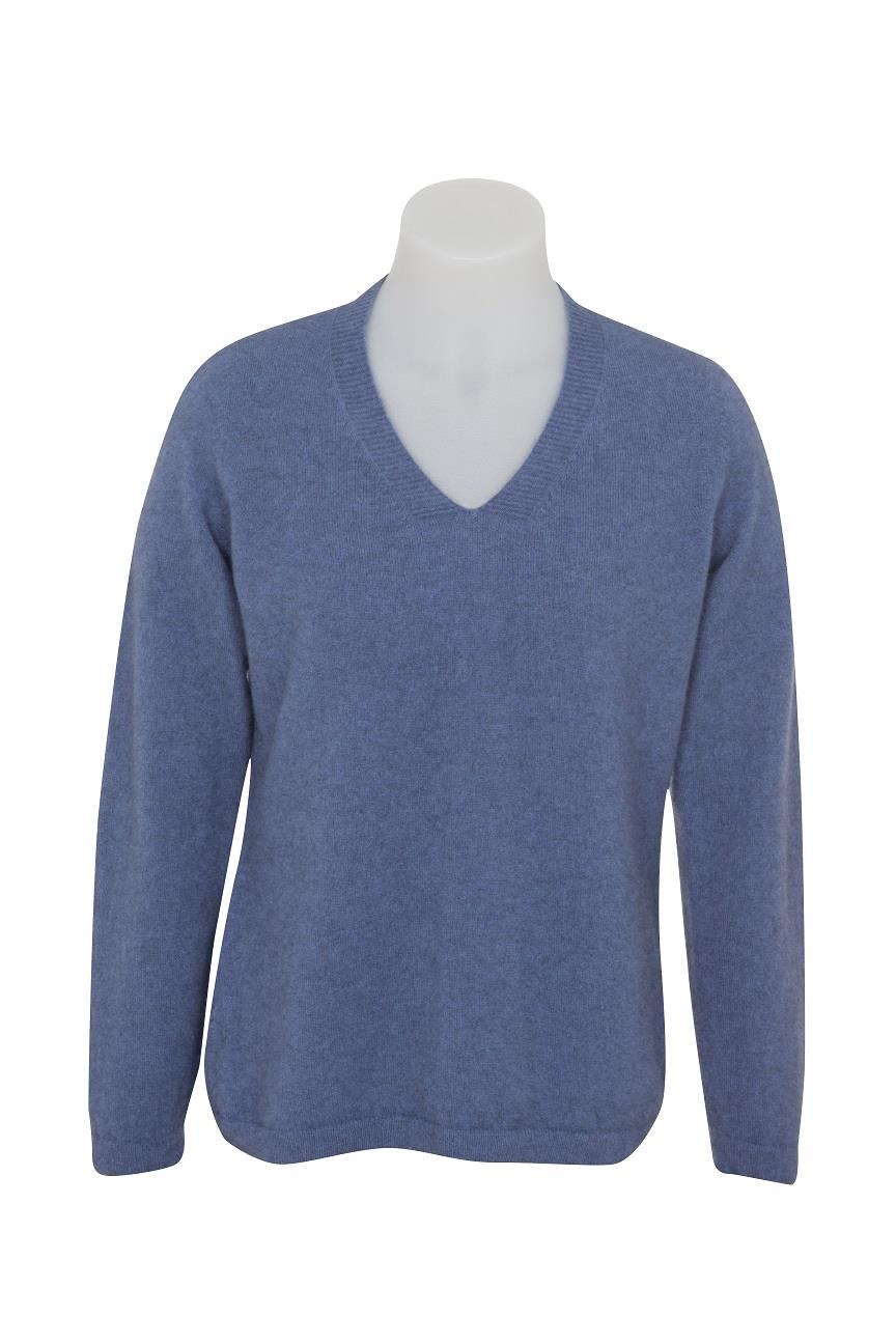 Native World Bluebell V-Neck Plain Sweater
