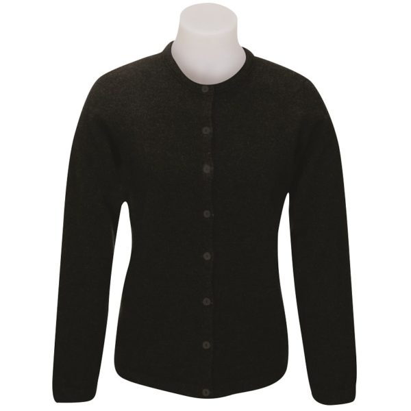Native World Black Button to Neck Plain Cardigan
