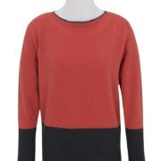 Native World Coral Boat Neck Two Tone Sweater