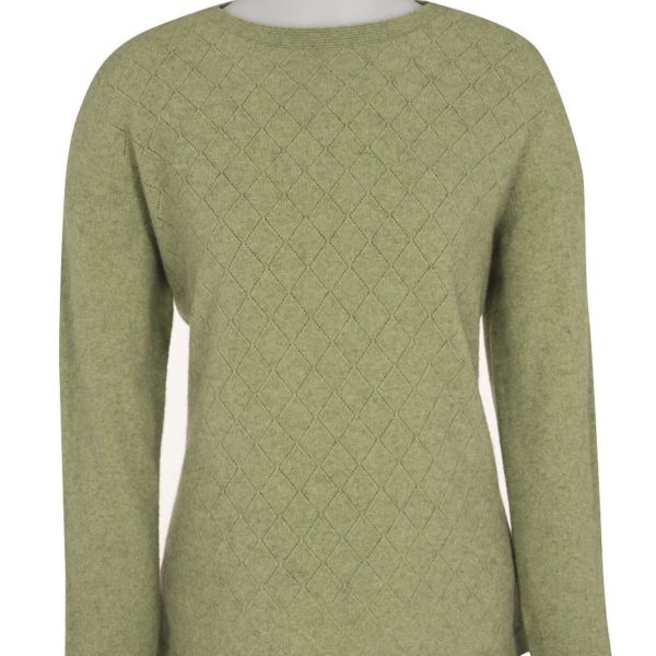 Native World Apple Crew Neck Diamond Lace Sweater