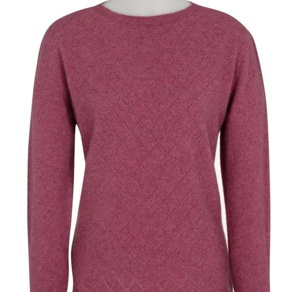 Native World Raspberry Crew Neck Diamond Lace Sweater