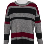 Native World Berry Crew Neck Striped Sweater