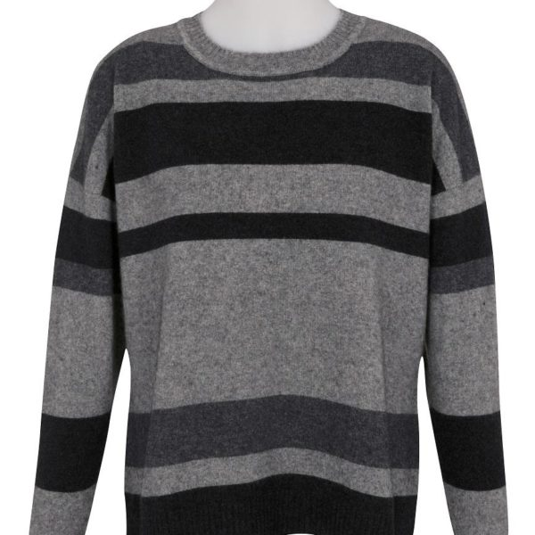 Native World Graphite Crew Neck Striped Sweater