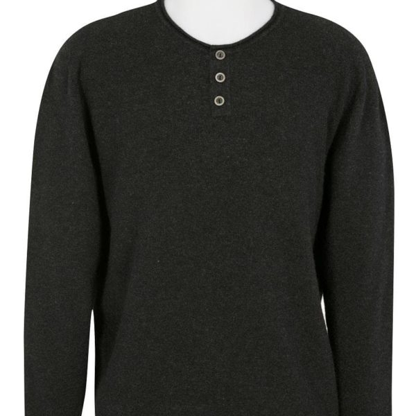 Native World Charcoal Henley Collar Sweater