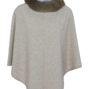 Native World Natural Pure Possum Trim Poncho