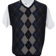 Native World Midnight V-Neck Argyle Vest