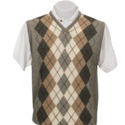 Native World Silver V-Neck Argyle Vest