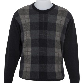 Native World Charcoal Crew Neck Tartan Sweater