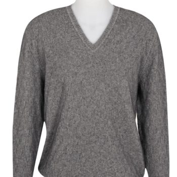 Native World Silver V-Neck Moss Diamond Sweater
