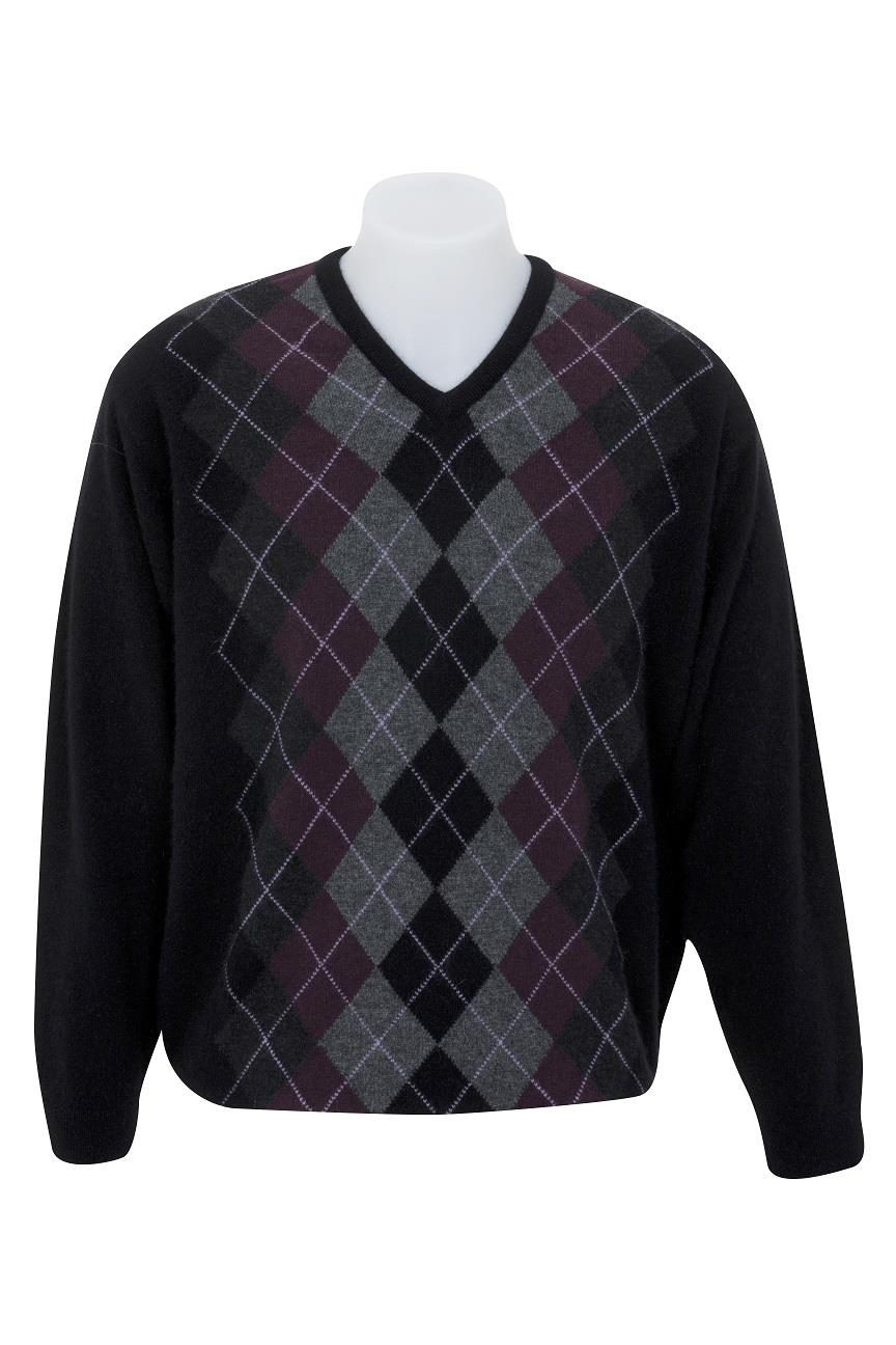 Native World Port V-Neck Argyle Sweater