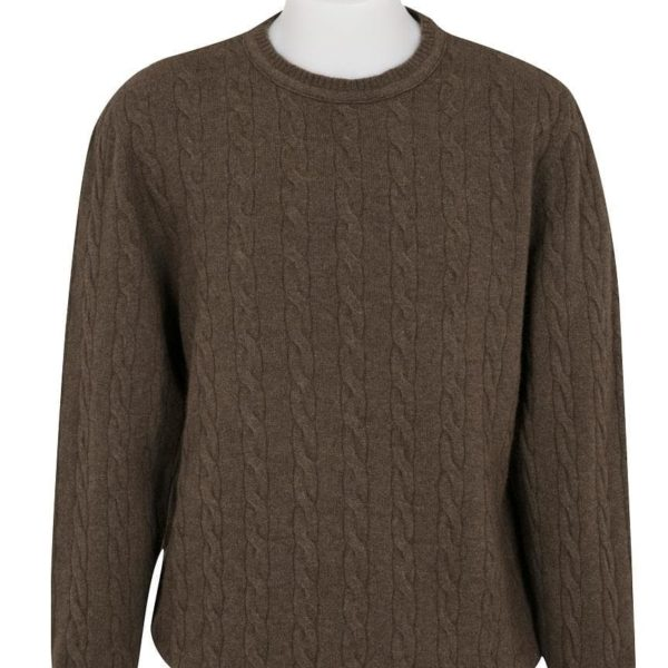 Native World Brown Crew Neck Cable Sweater