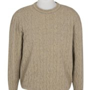 Native World Flax Crew Neck Cable Sweater
