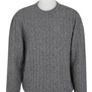 Native World Silver Crew Neck Cable Sweater