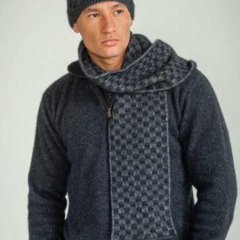 Koru Grey/Black Basketweave Beanie/Scarf