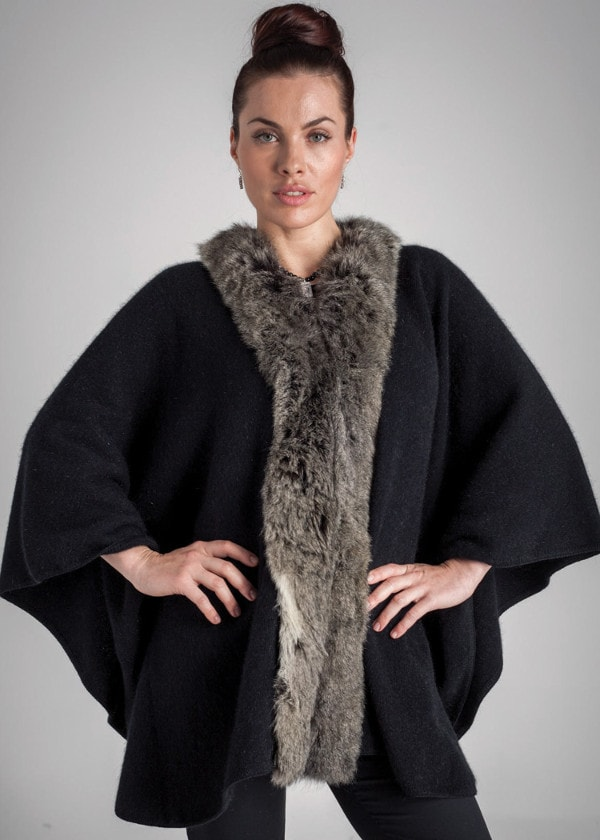 Koru Black/Snowtip Fur Trimmed Cape