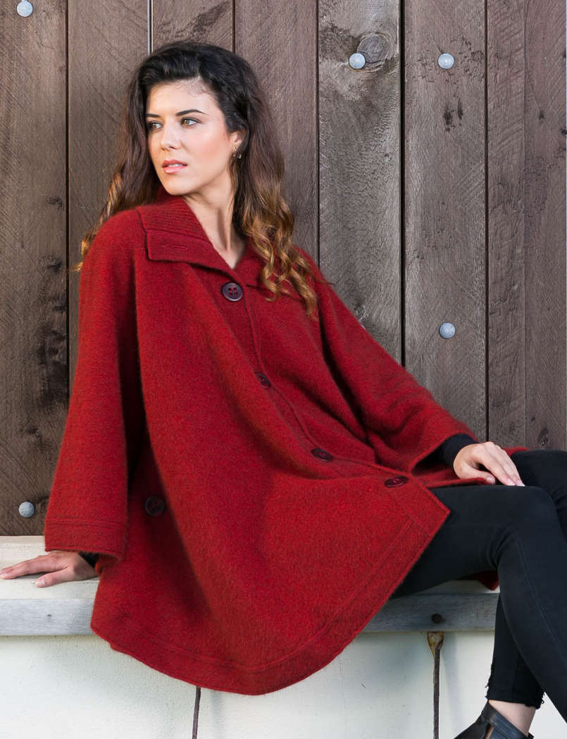 Koru Red Cape Cardigan