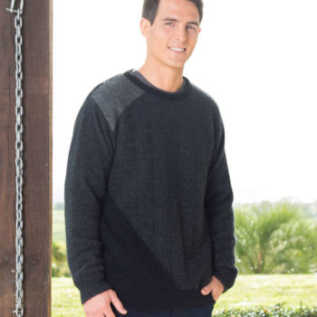Charcoal/Black/Grey Colour Block Jumper