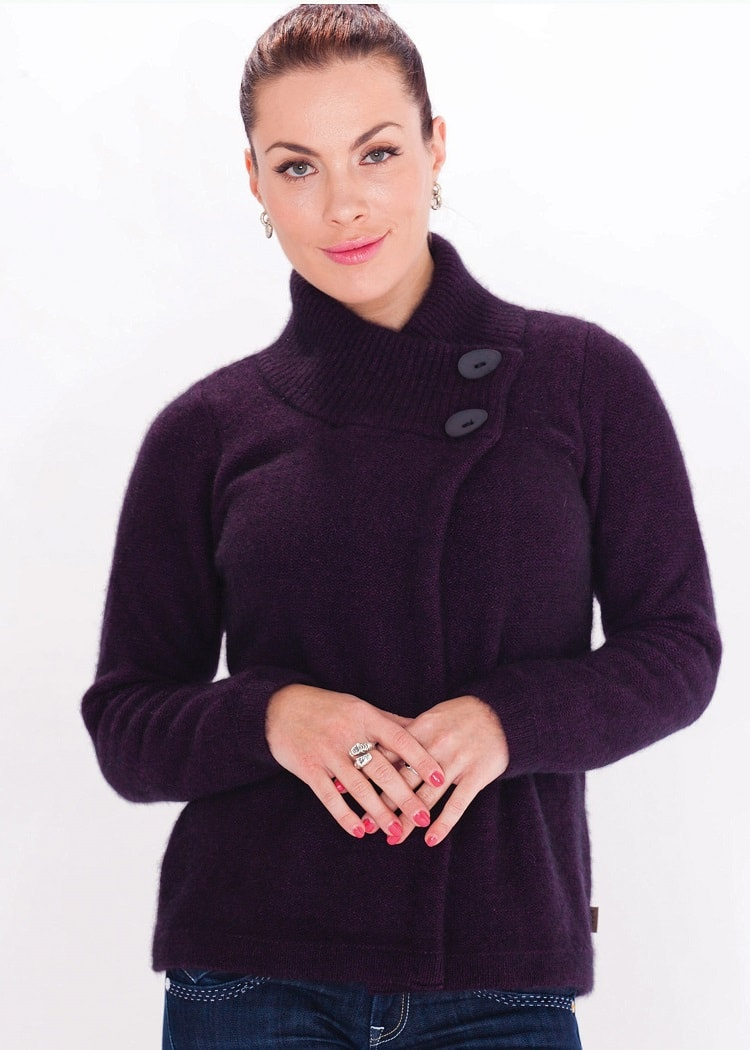 Koru Grape Two Button Cardigan