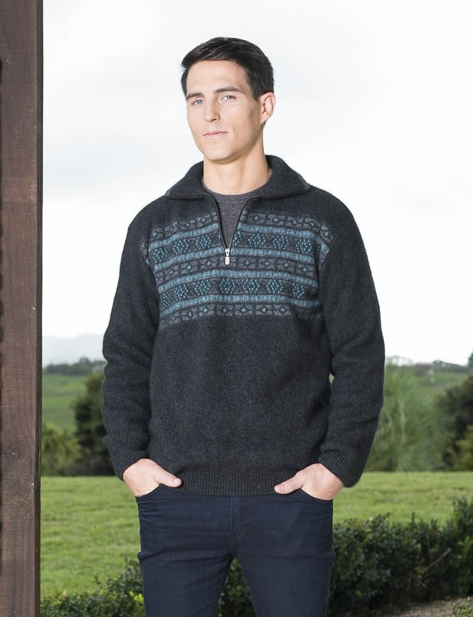 Koru Jacquard Zip Neck Jumper