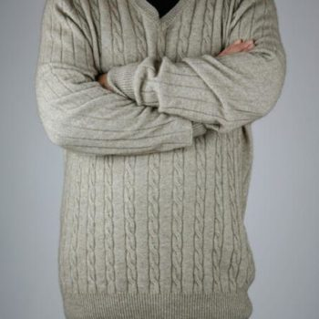 Possumdown Cable V Sweater
