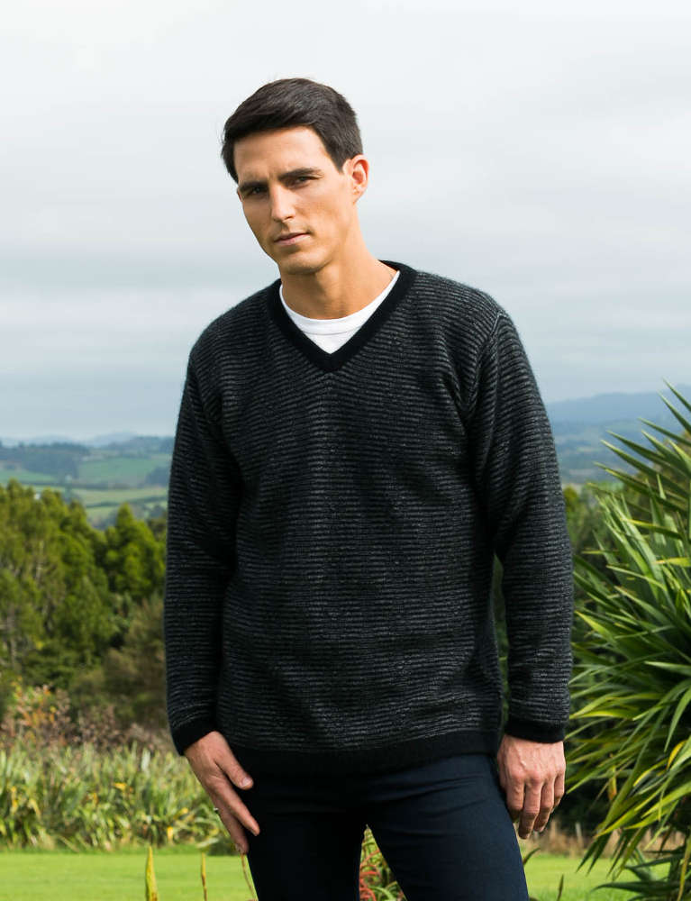 Koru Black/Grey Striped V-Neck Jumper