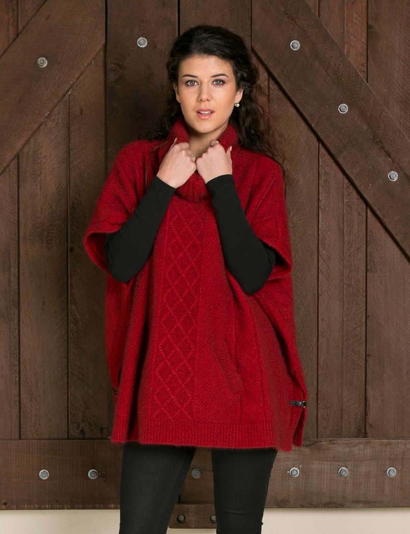 Koru Red Cable Poncho