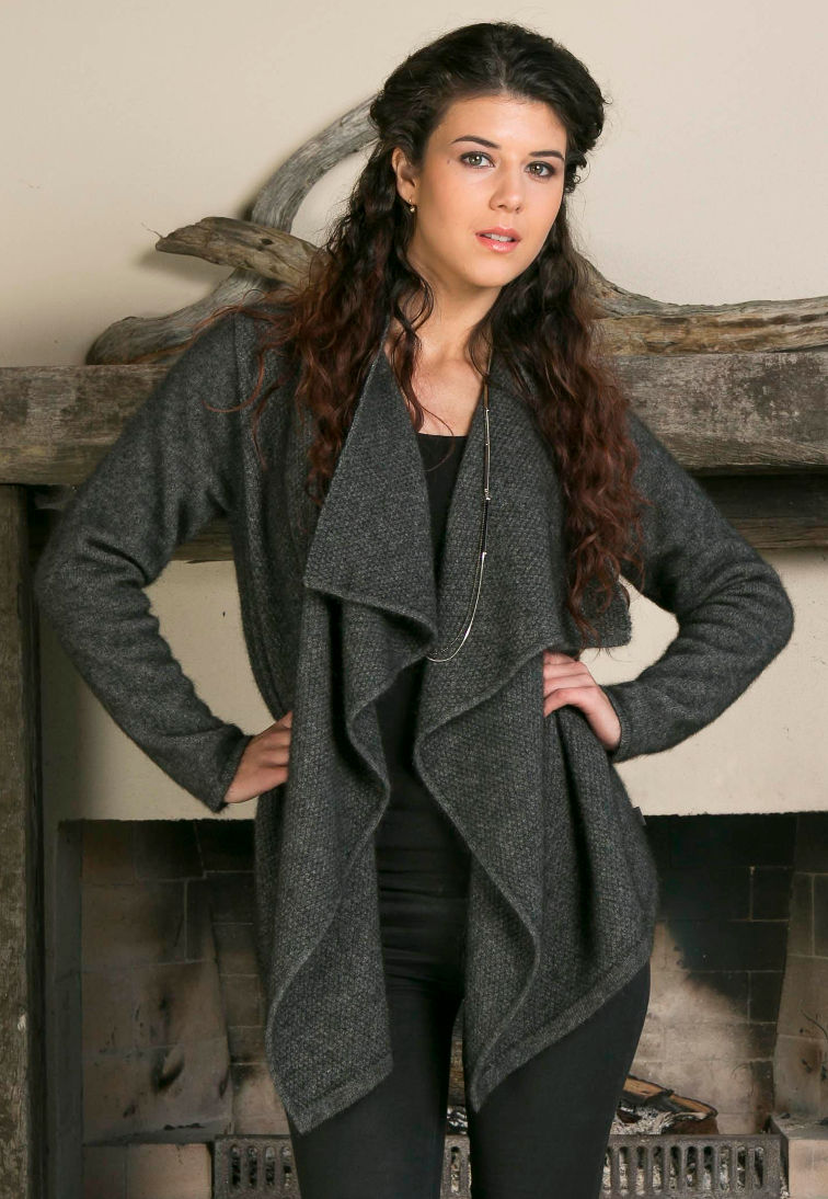 Koru Grey Moss Stitch Waterfall Cardigan