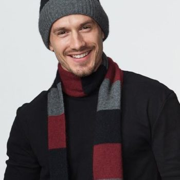Possumdown Wine/Black/Riverstone Block Stripe Scarf