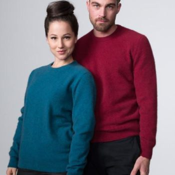 Possumdown Teal and Wine Plain Crew Neck Jumper