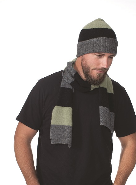 Possumdown Fern Block Stripe Scarf/Beanie